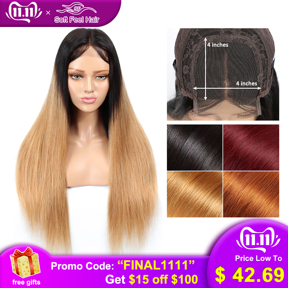 Soft Feel Hair 4x4 Closure Wig Ombre Brazilian Straight Lace Closure Wig Blonde Remy Human Hair Wigs With Baby Hair Middle Ratio