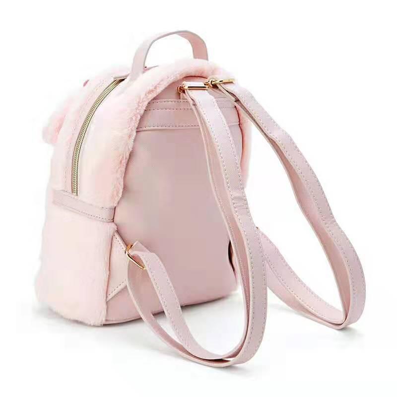 Image 2 - Cinnamoroll My Melody Small Plush Backpack Cute Cartoon Ears Pink  Leather Back Pack Mini Backpack for Teenage Girls KnapsackBackpacks