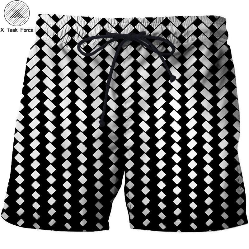 2019 New White Square Paint Beach Shorts Men Casual Board Shorts Plage Vacation Quick Dry Shorts Swimwear Streetwear