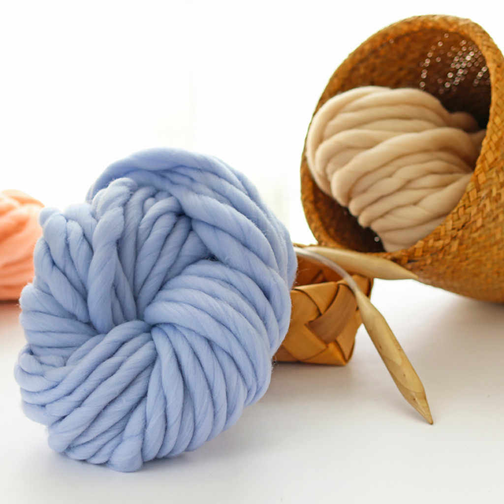 270G Super Merajut Selimut Tebal Benang Lembut Tebal Lengan Keliling Showroom/Bulky Merino Wol Benang DIY Crochet Benang Merajut Selimut topi # R5
