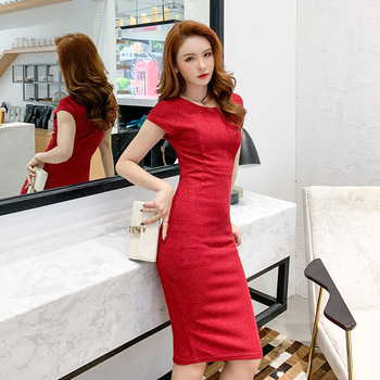 Spring Sexy Party Bodycon Office Sheath Dresses High-end Women O Neck Short Sleeve Elegant  brand 2020 Dress Vintage chic Dress 3