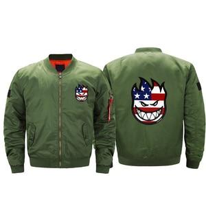 Spitfire eua bandeira do skate dos homens bombardeiro vôo jaquetas streetwear casaco ma1 grosso blusão de ar jaquetas piloto homens militares 5xl