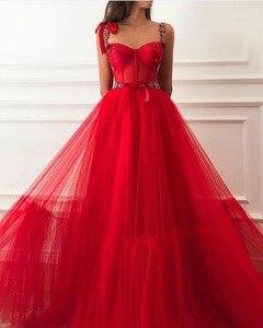 Image 4 - אדום מוסלמי ערב שמלות 2020 אונליין חרוזים רצועות מתוקה טול האסלאמי דובאי ערב ערבית ארוך ערב שמלות נשף שמלה