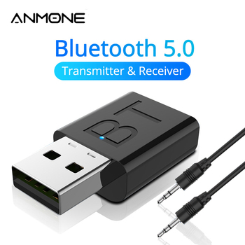 New USB Bluetooth 5.0 Audio Receiver Transmitter Car AUX Cable Kit Bluetooth Transmitter For TV PC Wireless Adapter For Car siroflo bluetooth transmitter receiver with nfc audio 3 5mm aux bluetooth adapter for pc smartphone bluetooth receiver