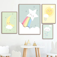 Cartoon Wall Art Poster Sun Moon Star Rainbow Rain Canvas Painting Nordic Painting and Printmaking Home Decoration Children Room(China)