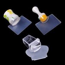 Novo design puro claro geléia silicone arte do prego stamper raspador com tampa transparente 3 tamanhos prego carimbo ferramenta