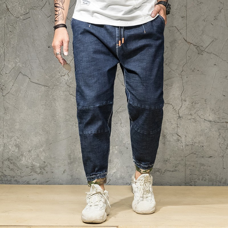 Harajuka Loose Casual Plus Size Drawstring Waist Mens Denim Pants Camouflage Printed Stretch Ankle Length Male Harem Trousers