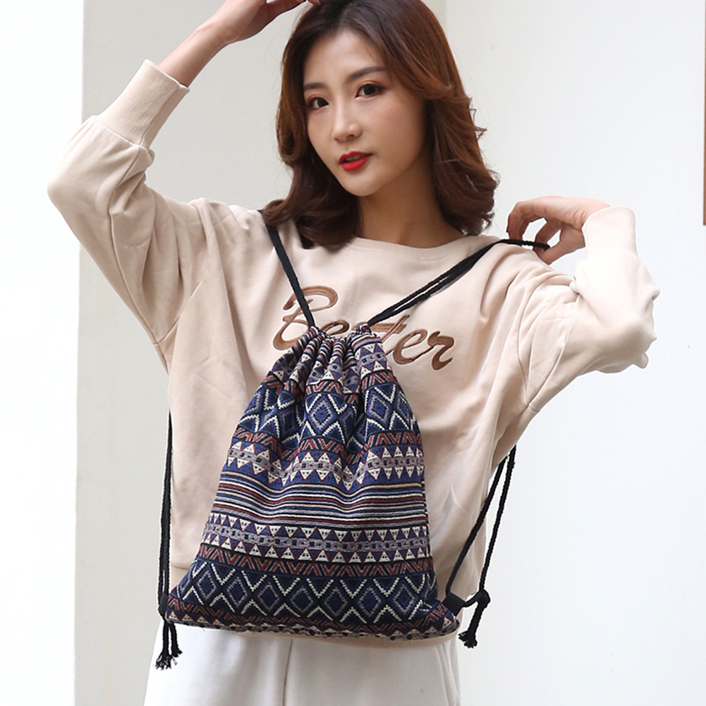 Retro Style Hided Pocket Large Capacity Sack Travel Knit Fabric Daily Geometrical Casual Drawstring Backpack Foldable Durable