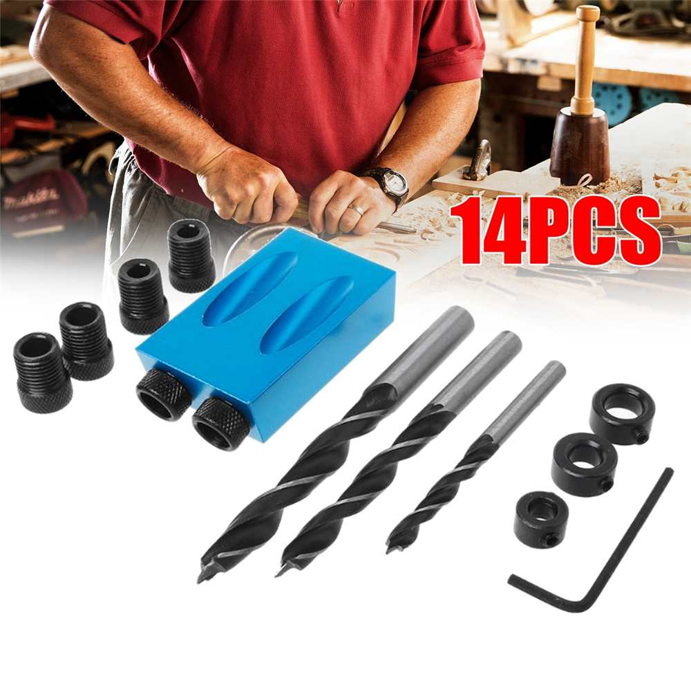 14pcs Woodworking Pocket Hole Jig Kit 6/8/10mm Angle Drill Guide Set Hole Puncher Locator Drill Bit Set For DIY Carpentry Tools