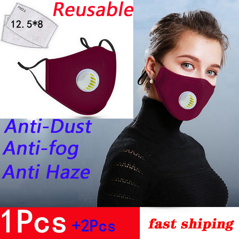 Anti Pollution PM2.5 Cotton Mouth Mask Reusable Anti-Dust Anti-fog Anti Haze Masks Respirator Valve Washable Mouth-muffle