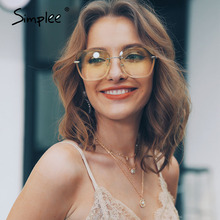 Simplee Sreetwear rimless women sunglasses Hollow out square
