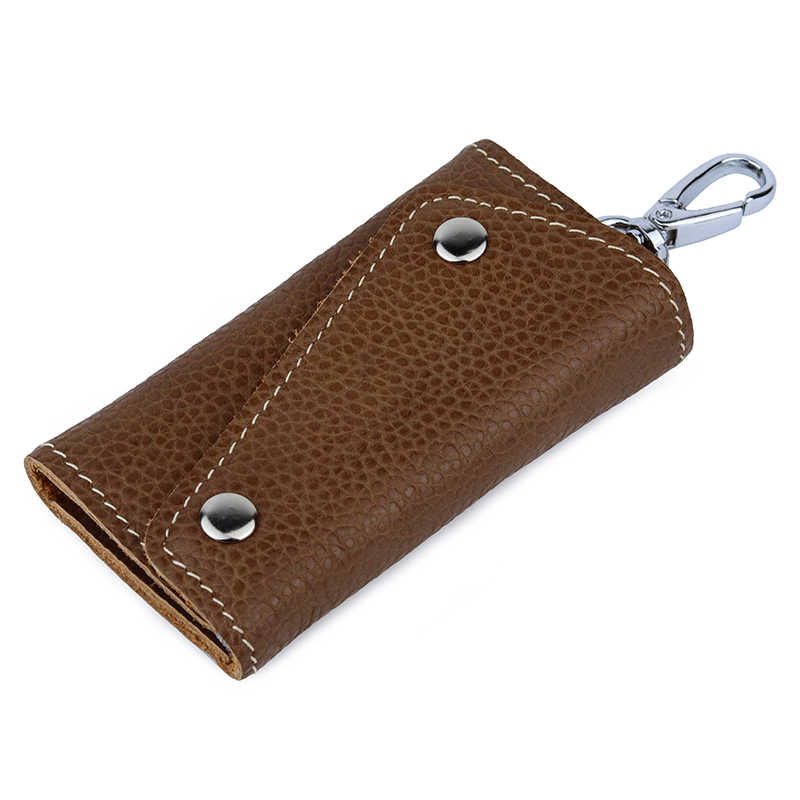 New Genuine Leather Keychain Wallet For Men Women Key Card Holder Home Organizer Pouch Car Key Case Fashion Mini Card Bag