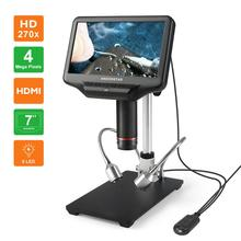 Microscópio eletrônico de solda da tela lcd de 7 polegadas do microscópio digital de andonstar ad407 3d hd para o reparo do telefone de smt/smd