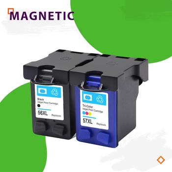 Kompatybilny wkład z atramentem dla hp 56 57 Deskjet 5150 450CI 5550 5650 7760 9650 PSC 1315 2110 2210 2410 drukarki dla HP56 tanie i dobre opinie Magnetyczne Wkład atramentowy 1BK 1color 1set 2sets 3sets BK color HP Inkjet Full