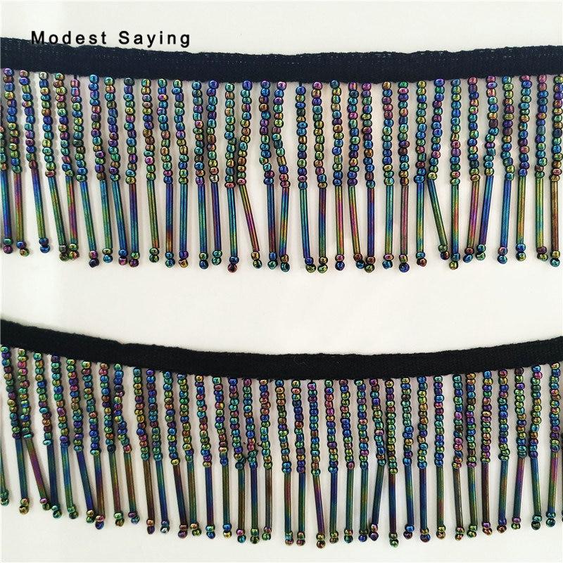 Colorful Black 6.5cm Beaded Fringe Trim Ribbon Sewing Tube Tassel Fringe Trimming Latin Dress Evening Gowns Garment Accessories