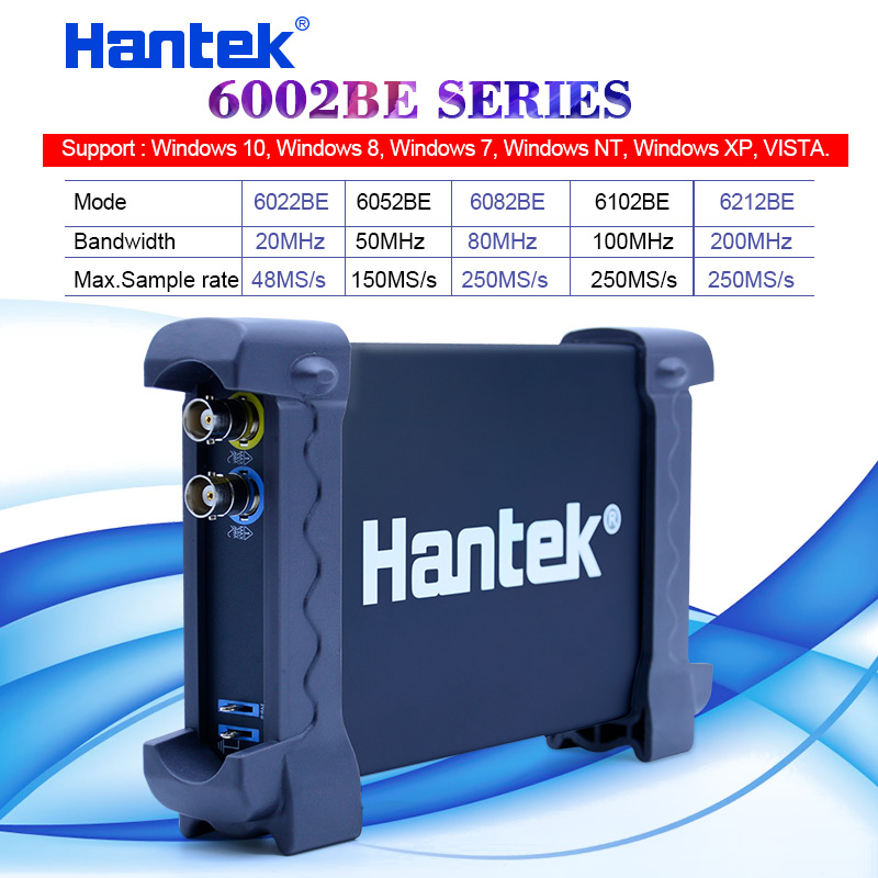Hantek PC USB portable oscilloscope 20MHz-200MHz 2 Channels 48MS/s-250MSa/s Oscilloscope 6022BE/6052BE/6082BE/6102BE/6212BE