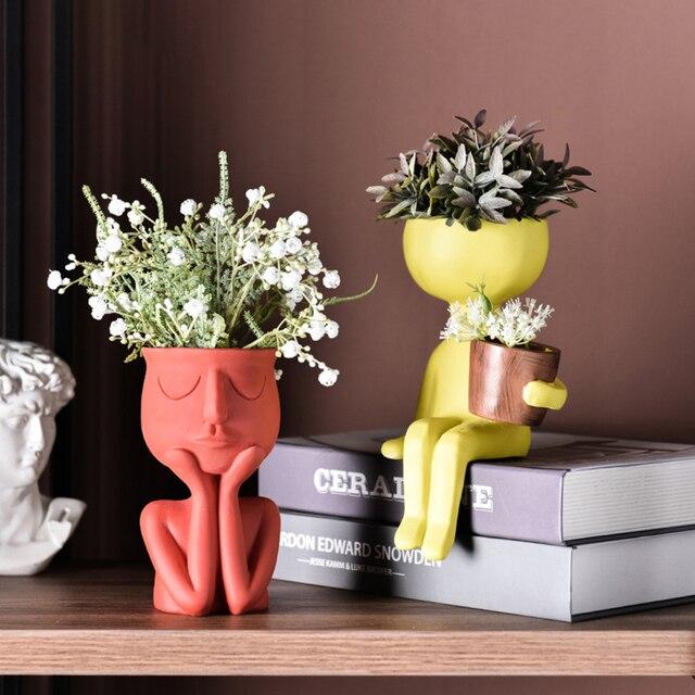 Character Portrait Flower Pot Resin Succulents Plant Pot Abstract Human Face Flower Pot Home Desktop Vase Micro Landscape Decor 2
