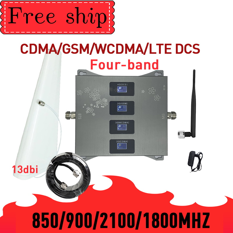 HOT!850 900 1800 2100mhz Cell Phone Booster Four-Band GSM Mobile Signal Booster 2G 3G 4G LTE Cellular Repeater GSM DCS WCDMA