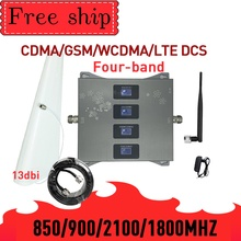 HOT!850 900 1800 2100mhz Cell Phone Booster Four Band GSM Mobile Signal Booster 2G 3G 4G LTE Cellular Repeater GSM DCS WCDMA