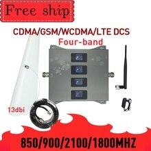 HOT!850 900 1800 2100mhz komórkowy wzmacniacz sygnału GSM cztery Band GSM wzmacniacz sygnału komórkowego 2G 3G 4G LTE komórkowy wzmacniacz GSM DCS WCDMA