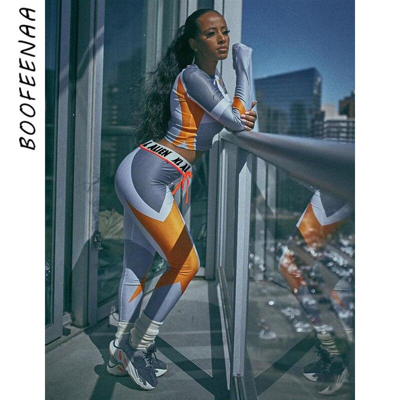 BOOFEENAA Sexy 2 Stück Set Crop Top und Schweiß Hosen Workout Kleidung für Frauen Passenden Sets Active Jogging Anzüge C87-AF36
