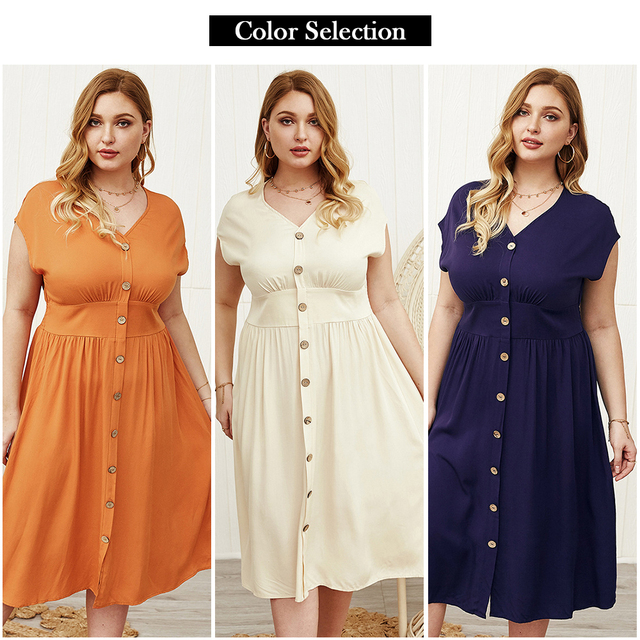 Lovely plus size button down open sleeve dress 4
