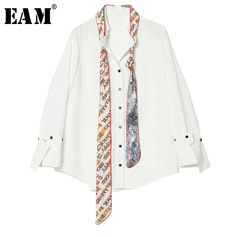 [EAM] Women Print Bow Bandage Hit Color Blouse New Stand Collar Long Sleeve Loose Fit Shirt Fashion Spring Autumn 2020 1A478