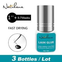 NATUHANA 3 בקבוקי 1 שני מהיר יבש אוהדי False ריסים הארכת דבק ארוך שחור שנמשך פרט מינק ריס דבק דבק