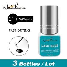 NATUHANA 3 bottles 1 Second Fast Dry Fans False Lash Extension Glue Long Black Lasting Individual Mink Eyelash Adhesive