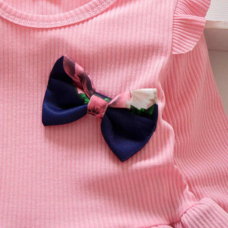 Весенне-осеннее платье для маленьких девочек; Хлопковое платье с длинными рукавами для малышей; Детские Платья с цветочным принтом и бантом для девочек; Модная одежда для девочек