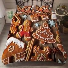 Лучшее. WENSD рождественское одеяло комплекты постельного белья хлопок коричневый милый Рождественский узор пододеяльник наволочки ropa de cama-без простыней