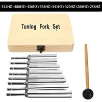 8Pcs 256 512HZ Steel Tuning Fork Set Health Physics Vibration Medical Diagnostic + Mallet Vibration Therapy Medical Tools