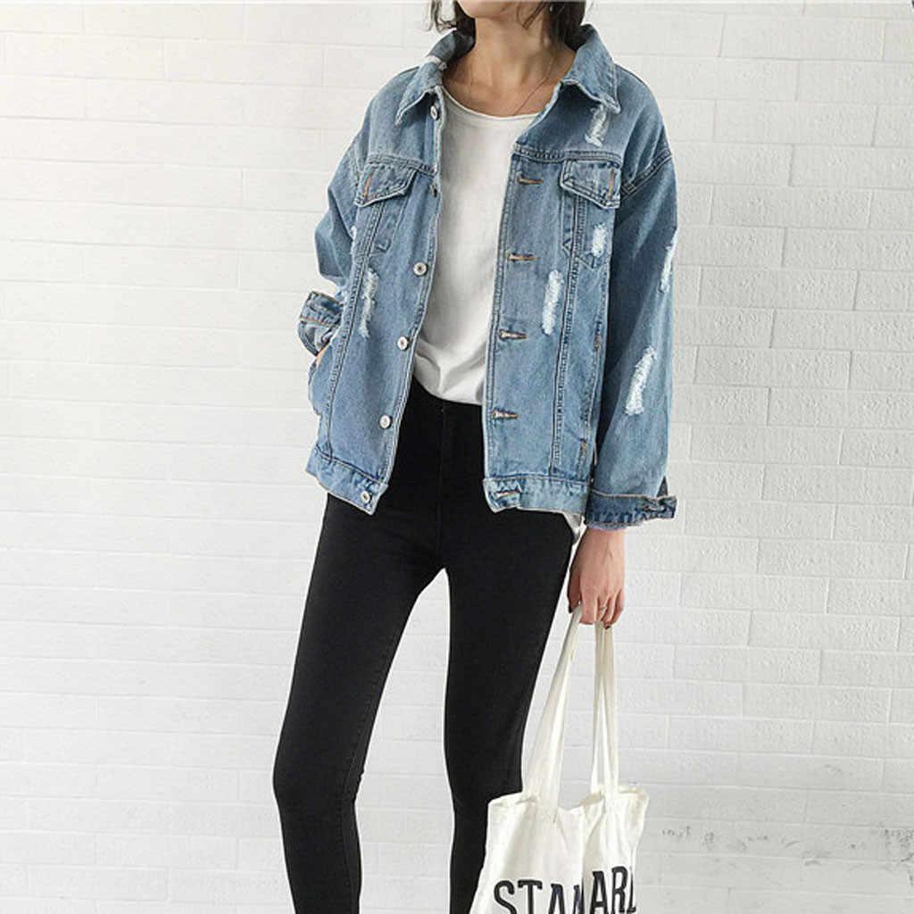 Wanita Ripped Jaket Bomber Denim Biru Klasik Jeans Harajuku BF Cardigan Besar Tombol Musim Gugur Punk Mantel Jaqueta Feminina