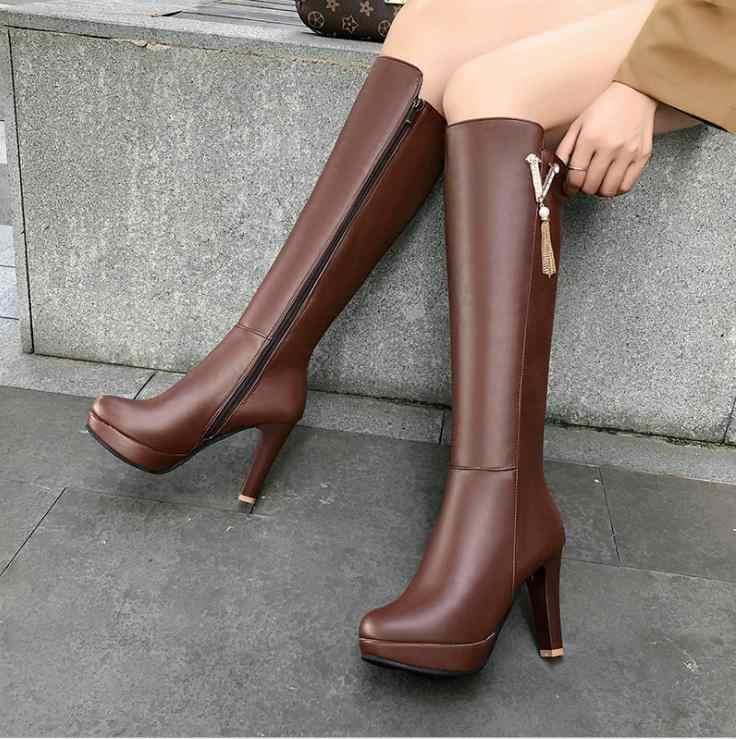 Toptan büyük boy moda kış kadın botları uzun diz yüksek PU deri çizmeler kadınlar için