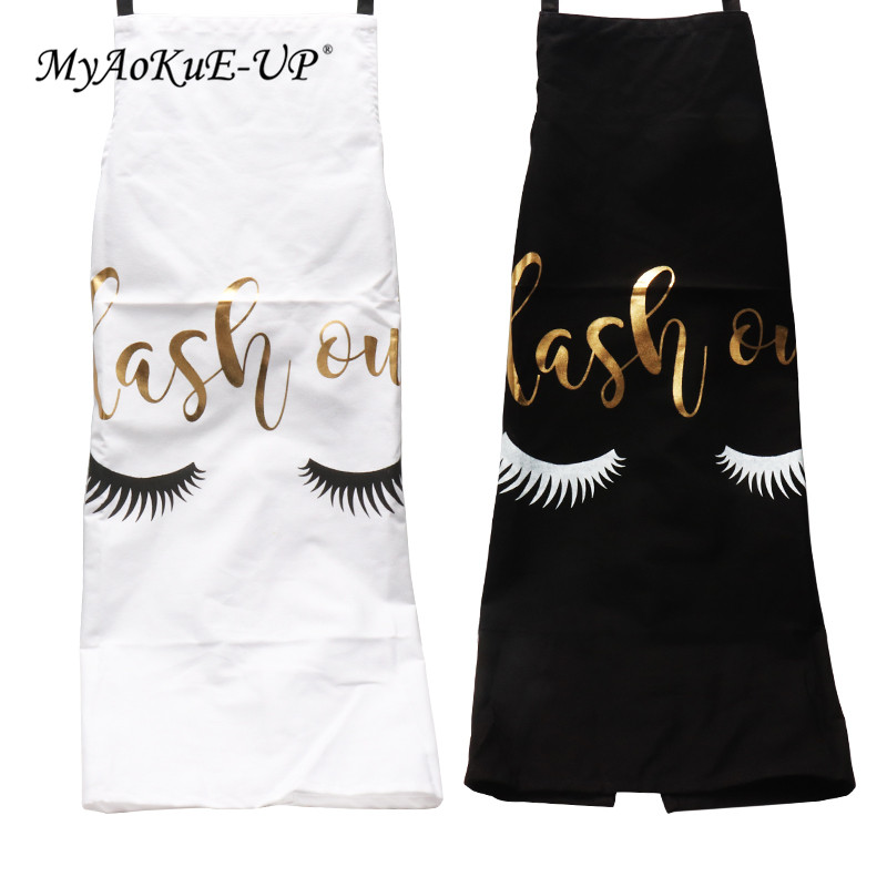 Eyelash Extension Tools Bronzing Eyelash Pattern Kitchen Apron Women Adult Home Cooking Baking Cleaning Aprons Bibs Kitchen