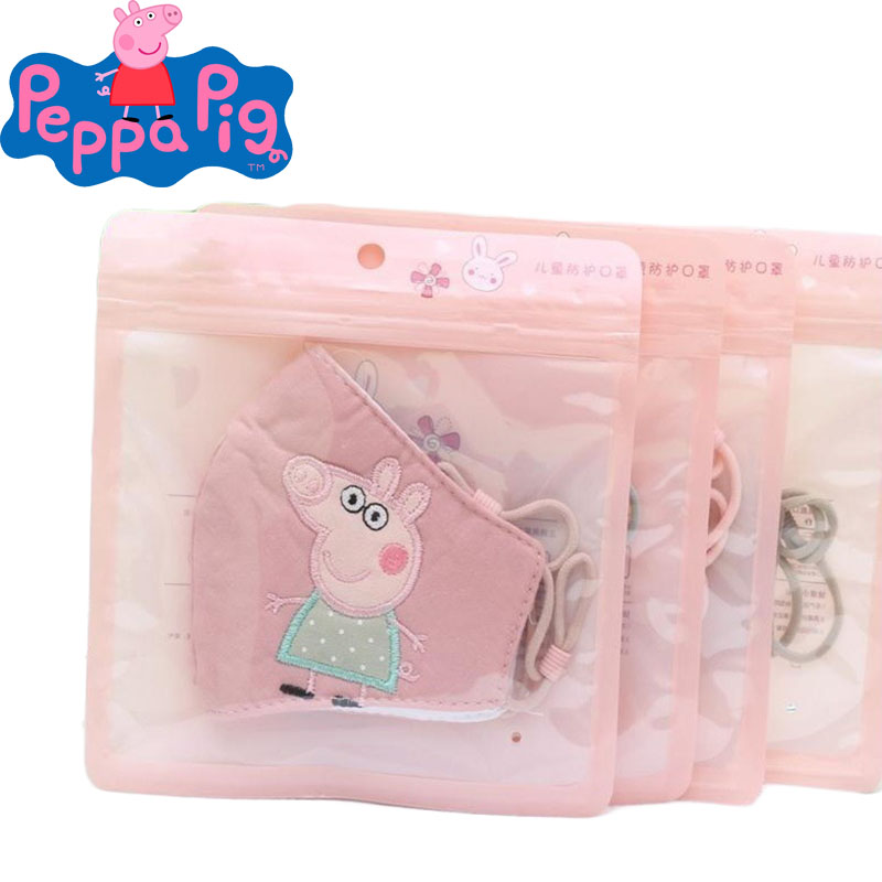 Adjustable Children's Face Masks Peppa Pig Mask Washable Kid's Cartoon Figure Dust Anti-fog Cotton Masks Child Toys Gift