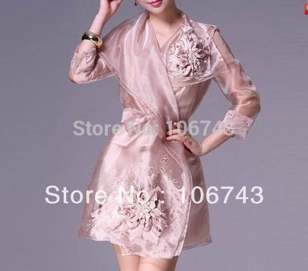 Dress Free Shipping 2016 Mature Hotsale Silk Organza Runway Long Sleeve Jacket/Coat Mature Custom Size Mother Of The Bride Dress