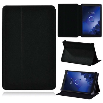 Tablet Case for Alcatel 1T 7 10/3T 8 10/A3 10 Cover Inch/8 Inch/10 Inch Leather Flip Pure Black Protective Shell+pen