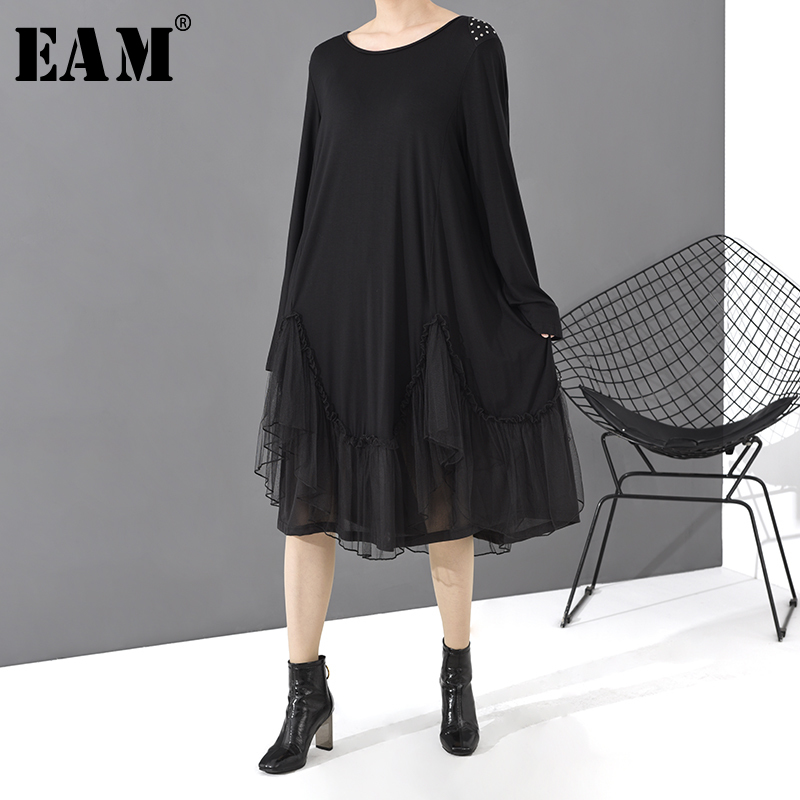 [EAM] Women Black Mesh Split Joint Big Size Dress New Round Neck Long Sleeve Loose Fit Fashion Tide Spring Autumn 2020 1T486