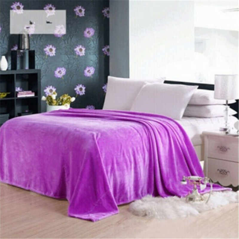 Rumah Tekstil Musim Gugur Musim Dingin Flanel Selimut Baru Hangat Lembut Karang Bulu Selimut Blanket Dewasa Solid Bed Cover Sofa Bed Cover panas