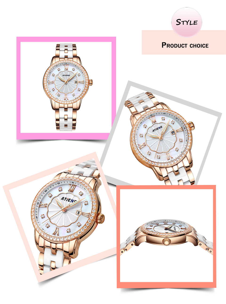 Wome Watches Atieno Holiday Gift Luxury Ceramic Wristband Fashion Ladies WristWatch Female Clock Quartz Relojes Para Mujer