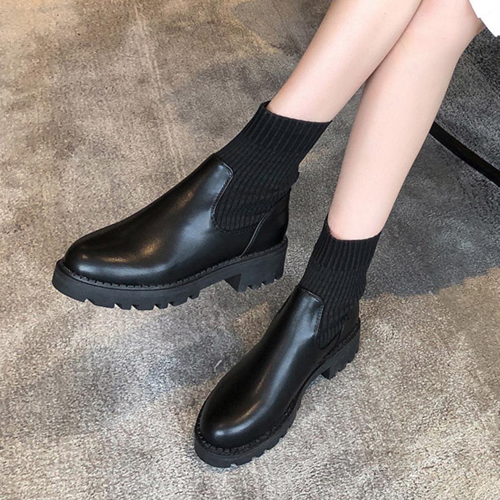 Socke Stiefel Frauen 2019 Neue Stretch Stoff Winter Schuhe Fashion Slip on Ankle Stiefel Frauen Socken Stiefel Schwarz Booties Botas mujer