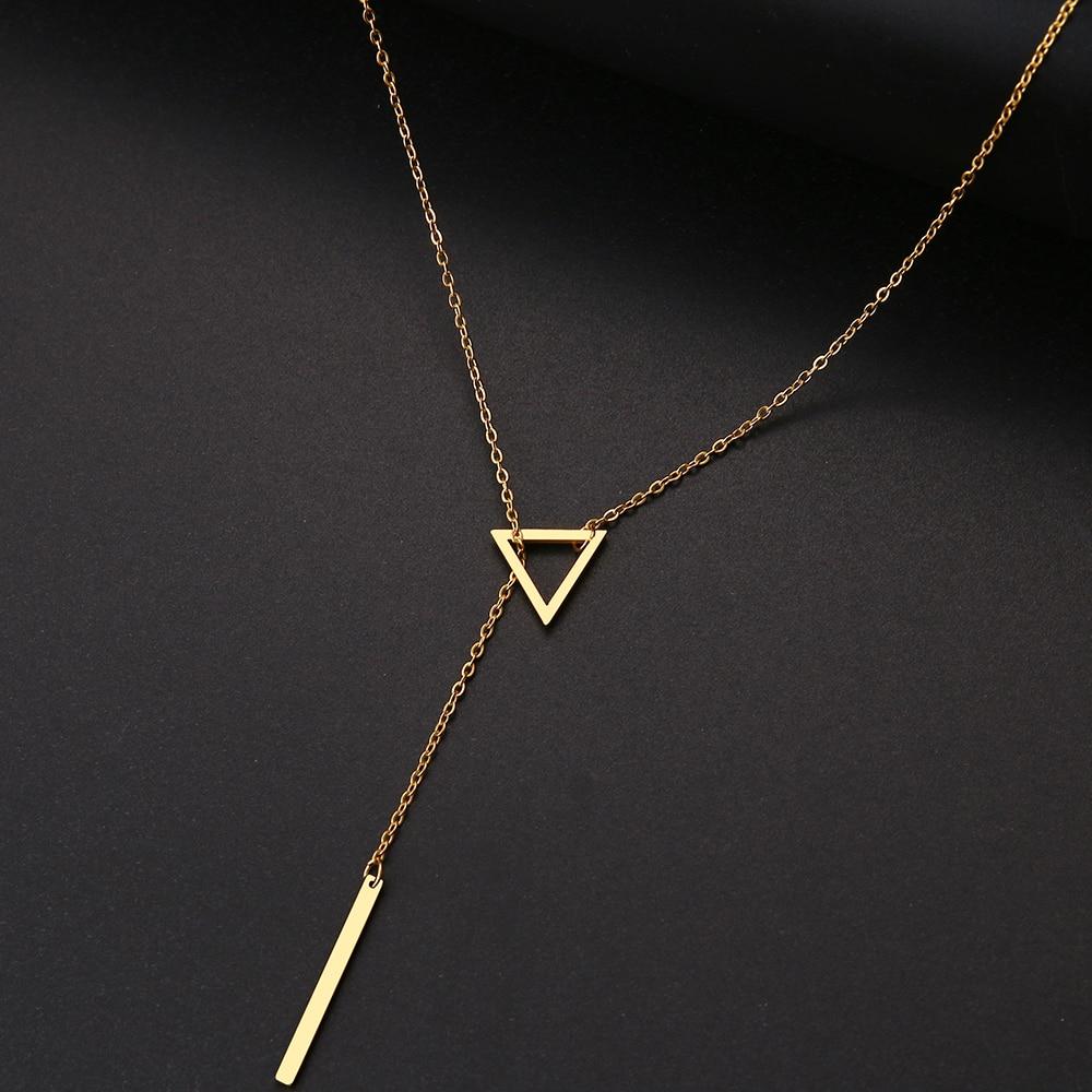 DOTIFI женские ожерелья, инновационная двойная подвеска, длинная цепочка, ажурный треугольник и багет, ожерелье из нержавеющей стали