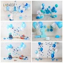 Laeacco Children Birthday Photophone White Wall Balloons Pennant Rudder Photo Backdrops Baby Portrait Photography Backgrounds