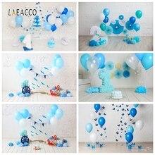 Laeacco Kinderen Verjaardag Photophone Witte Muur Ballonnen Wimpel Roer Foto Achtergronden Baby Portret Fotografie Achtergronden