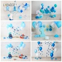 Laeacco детский день рождения Фотофон Белая стена воздушные шары перьевой руль Фото фоны детский портрет фотографии фоны