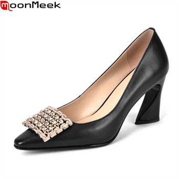 MoonMeek New Brand 2020 fashion high heels shoes genuine leather shallow party shoes summer elegant women pumps black white