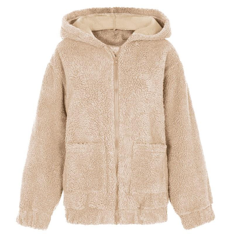 Nice Winter Plus Size Thick Zipper Teddy Coat Warm V-Neck Faux Fur Coat Slim Fur Pockets Fake Fluffy Jacket