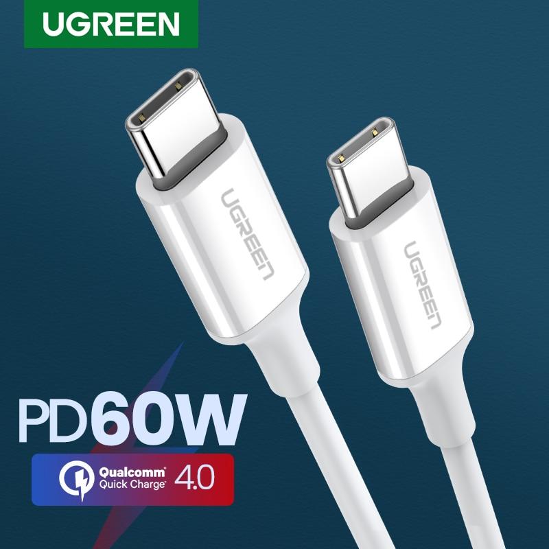 Ugreen pd 60w usb c para usb tipo-c cabo qc4.0 3.0 cabo de dados de carga rápida para macbook samsung s9 mais cabo usb c para huawei p30