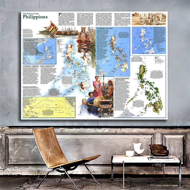 59x42cm Philippines 1986 World Map A2 Non-woven Art Paper Painting Home Decor World Map Wall Poster Student School Office Supply